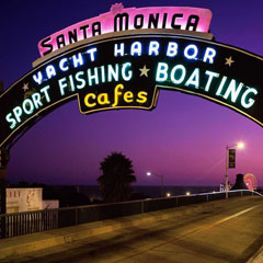 Santa Monica Pier Sign at Night